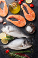 Raw salmon and dorado fish fillet - PhotoDune Item for Sale