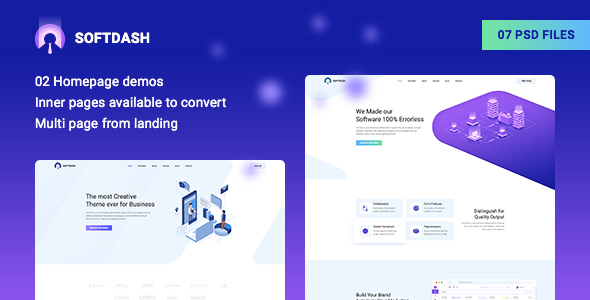 Softdash - Creative SaaS and Software PSD Template