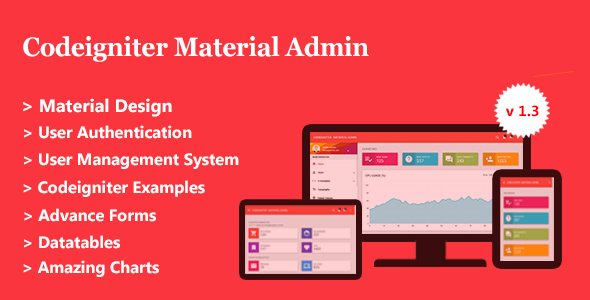 Codeigniter Material Admin + User Management - CodeCanyon Item for Sale