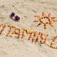 Sunglasses, inscription vitamin D and shape of sun on sand at beach - PhotoDune Item for Sale