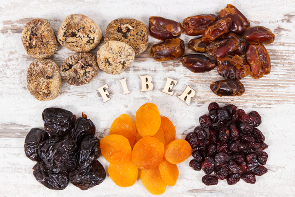 Inscription fiber and ingredients containing natural minerals and vitamins - Stock Photo - Images