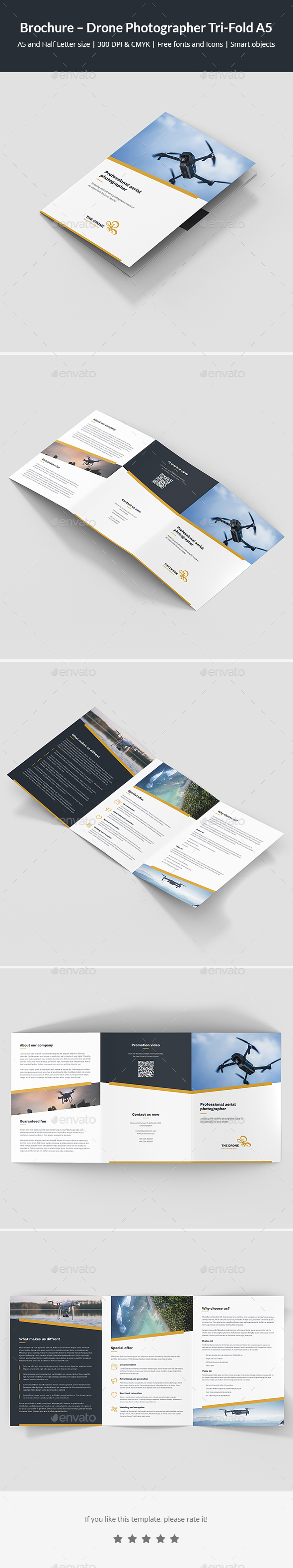 Brochure – Drone Photographer Tri-Fold A5 - Corporate Brochures