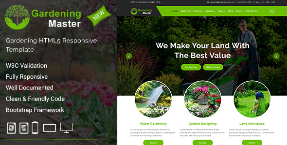 Image of Gardening Master - Gardening and Landscaping HTML5 Responsive Template