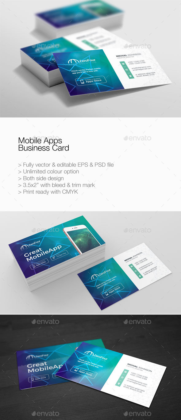 Mobile Apps Business Card by PantonStudio | GraphicRiver