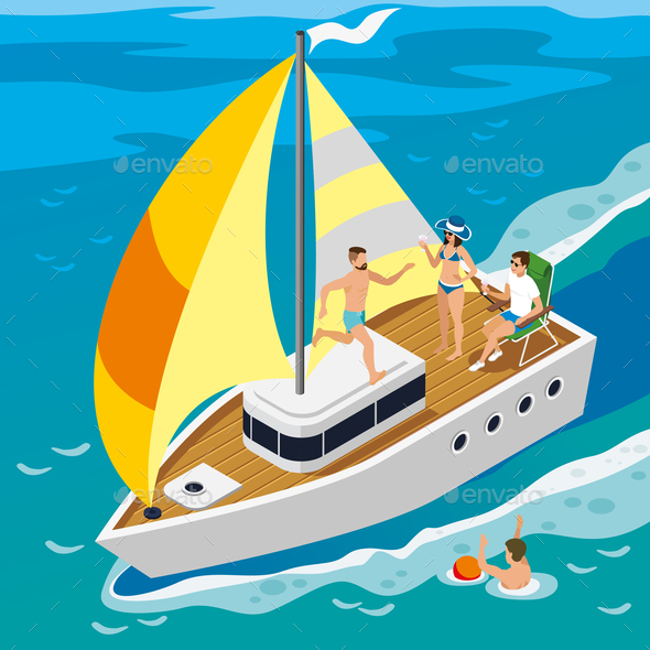 Rich People Yacht Isometric Illustration - Nature Conceptual