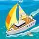 Rich People Yacht Isometric Illustration