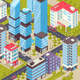 City Buildings Isometric Poster