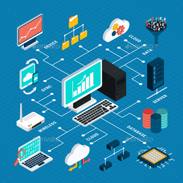 Data Analysis Isometric Infographics Layout - Business Conceptual