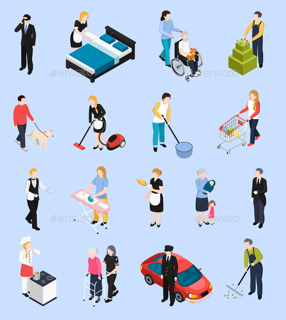 Home Staff Isometric Icons - People Characters