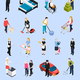 Home Staff Isometric Icons - GraphicRiver Item for Sale