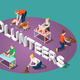 Animals Volunteers Isometric Composition