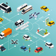 Autonomous Vehicle Isometric Flowchart - GraphicRiver Item for Sale