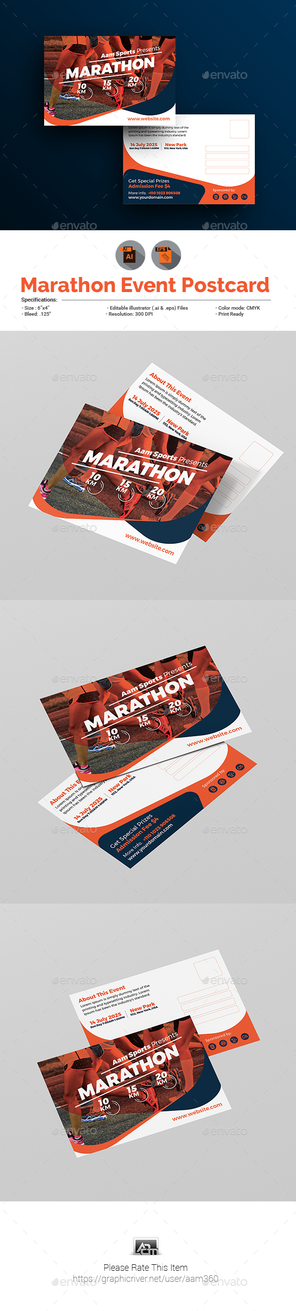 Marathon Event Postcard Template - Cards & Invites Print Templates