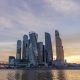 Moscow City Business Center and Blue Sky at Sunset. Russia - VideoHive Item for Sale
