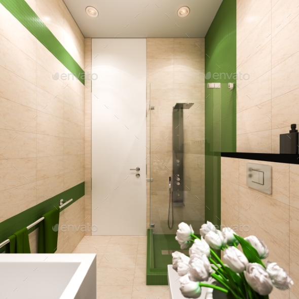 Interior Design Of The Bathroom In A Modern   Architecture 3D Renders