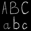 a, b, c handwritten white chalk letters isolated on black background - PhotoDune Item for Sale