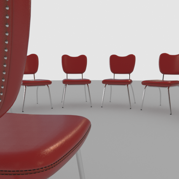 Chair Red Leather - 3DOcean Item for Sale