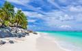 Stunning white sandy beach with rocks and palms on Rarotonga, Co - PhotoDune Item for Sale