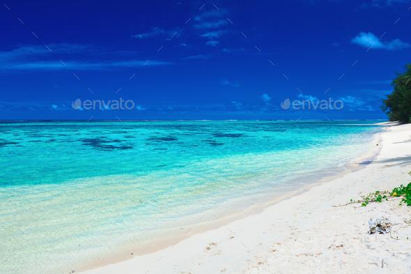 Sandy beach with rocks and palms on Cook Islands, Rarotonga - Stock Photo - Images