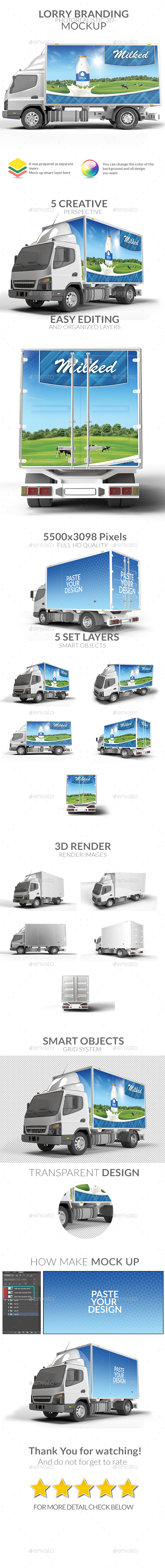 Lorry Branding Mock Up - Photorealistic Mock Up - Vehicle Wraps Print