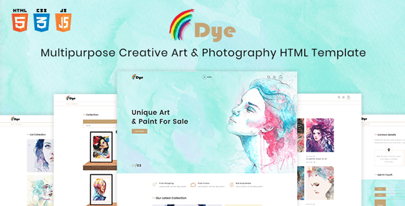 Dye - Multipurpose Creative Shop Art & Photography HTML Template - Retail Site Templates