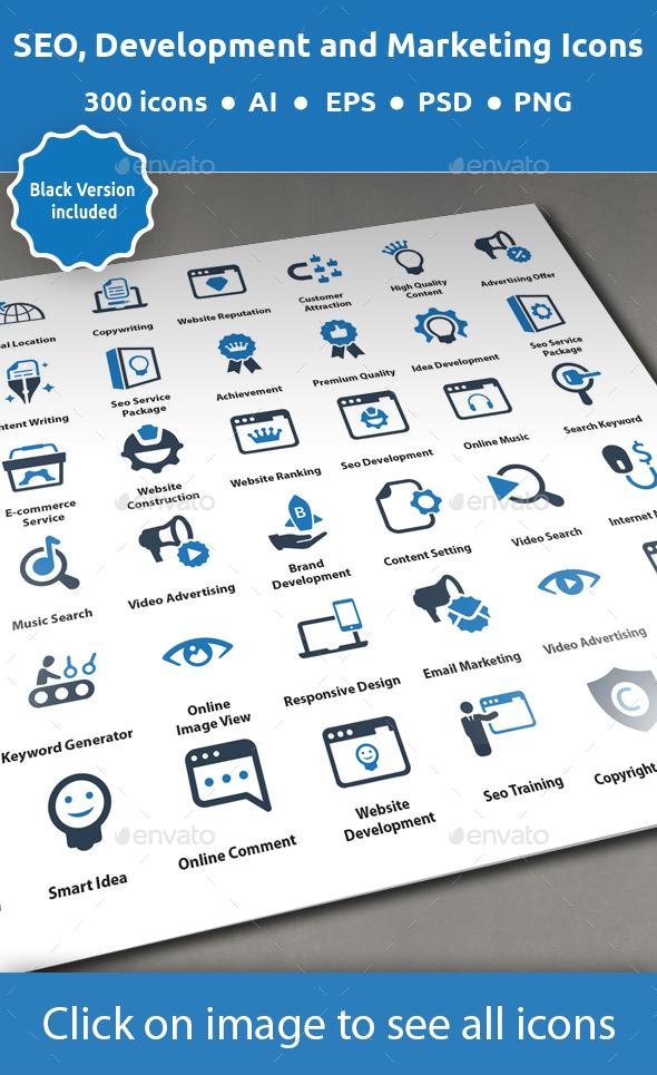 SEO, Development and Marketing Icons