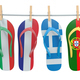 Hanging flip flops in colors of  different mediterranean europea - PhotoDune Item for Sale