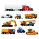 Road Transport Heavy Machinery and Vehicle Icons - GraphicRiver Item for Sale