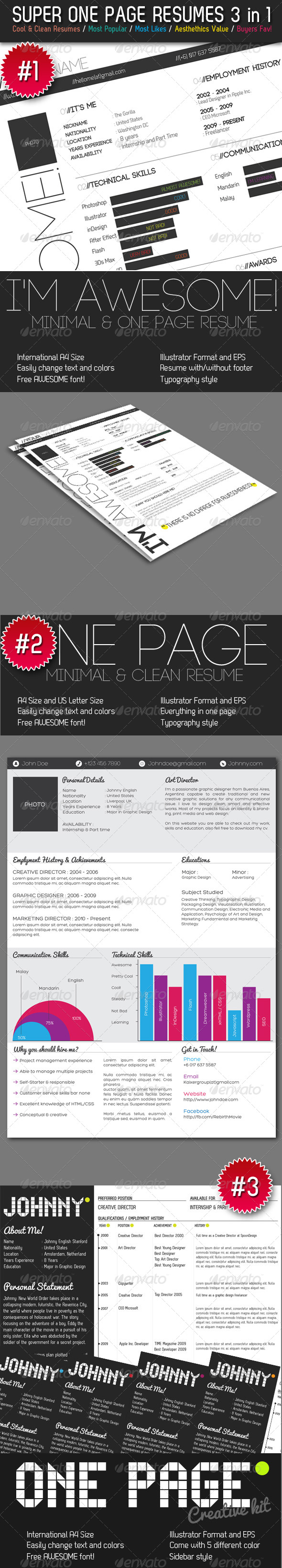 Super One Page Resumes Bundle 3 in 1 - Resumes Stationery