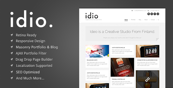 idio - Minimalistic WordPress Portfolio Theme - introduction