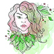 Girl and Leaves on a Green Watercolor Background - GraphicRiver Item for Sale