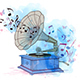 Music Background with Vintage Gramophone - GraphicRiver Item for Sale