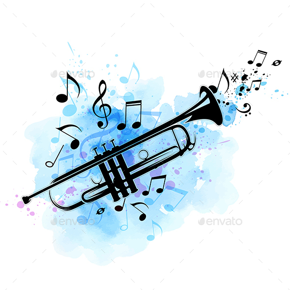 Background with Trumpet - Miscellaneous Vectors