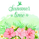 Summer Tropical Background with Red Flowers - GraphicRiver Item for Sale