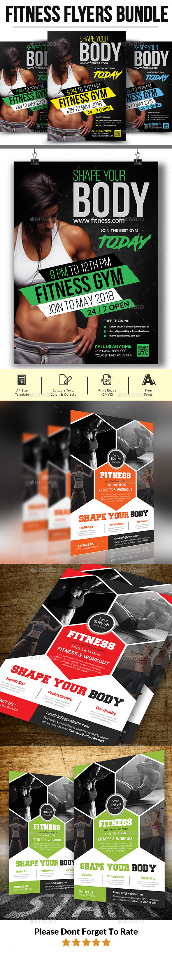 Fitness Flyers Bundle Template - Corporate Flyers
