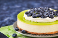 Delicious key lime cheesecake decorated with fresh blueberries - PhotoDune Item for Sale