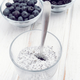 chia smoothie with berries on white wooden board - PhotoDune Item for Sale