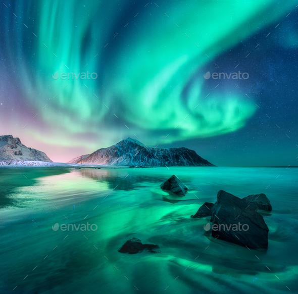 Aurora. Nothern lights in Lofoten islands, Norway - Stock Photo - Images