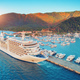 Aerial view of beautiful large white ship at sunset - PhotoDune Item for Sale