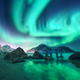 Green aurora borealis and people. Northern lights - PhotoDune Item for Sale