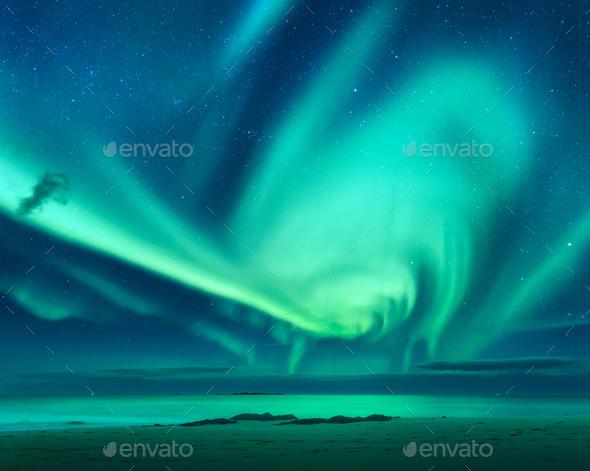 Aurora. Aurora borealis above the sea - Stock Photo - Images
