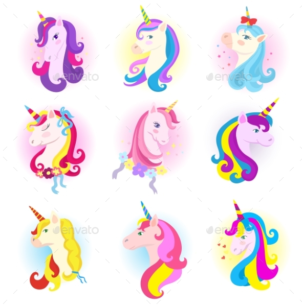 Unicorn Vector Cartoon Horse Character with Magic - Animals Characters