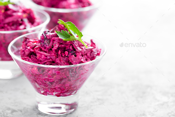 Beet salad. Salad of boiled beet - Stock Photo - Images