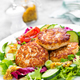 Cutlets and fresh vegetable salad on white plate. Fried meatballs with vegetable salad - PhotoDune Item for Sale