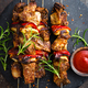 Grilled meat skewers, shish kebab with onion and sweet pepper - PhotoDune Item for Sale