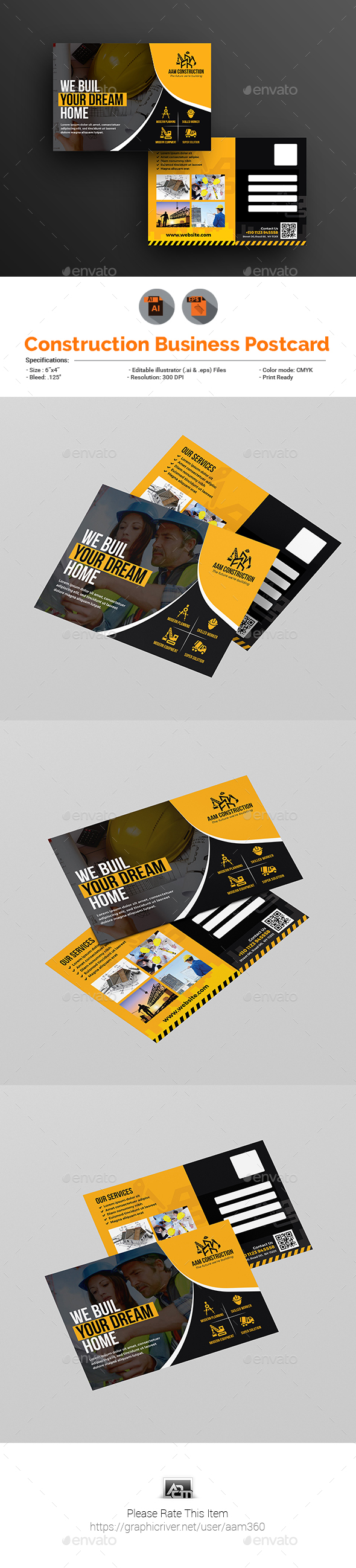 Construction Firm Postcard Template - Cards & Invites Print Templates