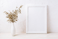 White frame mockup with decorative dried grass - PhotoDune Item for Sale