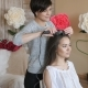 Makeup Artist Stylist Works with Model. Hairdresser Does the Hair Styling of the Model. Woman Is - VideoHive Item for Sale