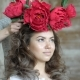 Makeup Artist Stylist Works with Model. A Stylist Dresses a Wreath of Red Pions on the Girl's Head - VideoHive Item for Sale
