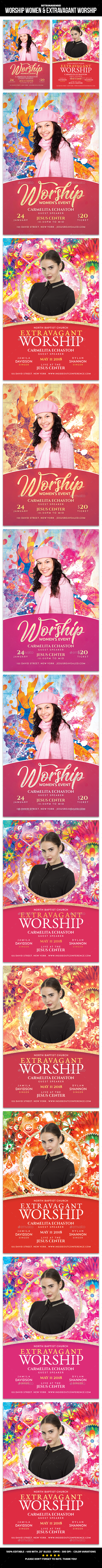 Worship Women & Extravagant Worship Flyer - Church Flyers